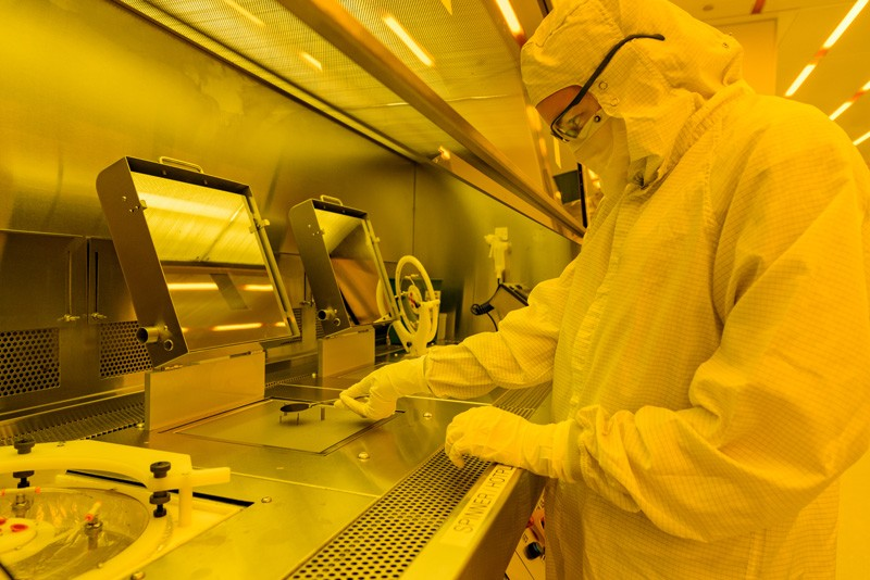 Person working in nanofabrication facility